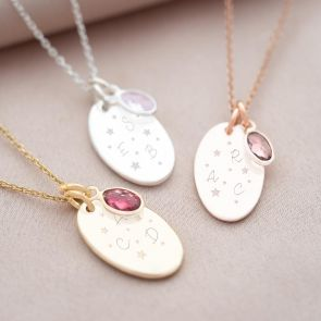 Star Night Oval Initial Disc Personalised Necklace
