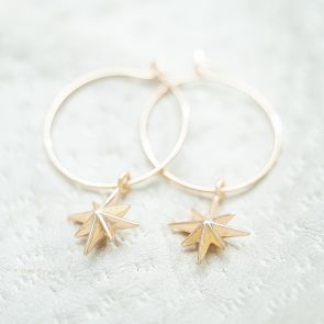 Gold Plated Hoop Earrings with Hanging Star Charm