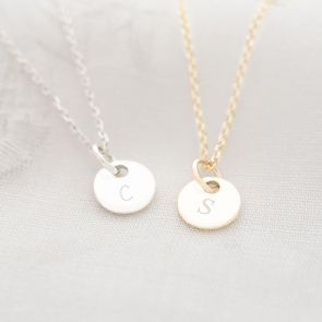 Daughter Disc Necklace in Gold Plated Sterling Silver and Sterling Silver Personalised with Chosen Initial