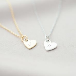 sterling silver and gold plated sterling silver heart necklace personalised with chosen initials