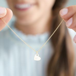 gold plated sterling silver heart necklace with script style intial