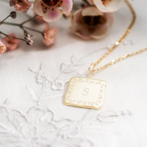 Sterling Silver Square Pendant with Botanical Border and Personalised with Classic Initial