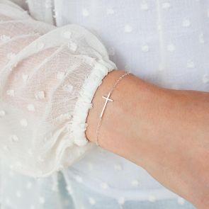 Sterling Silver Cross Charm Personalised Bracelet