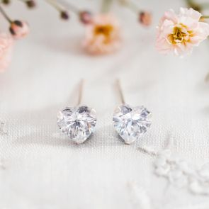 Sterling Silver Earrings with Crystal Heart Studs