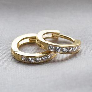 Sterling Silver Crystal Huggie Earrings