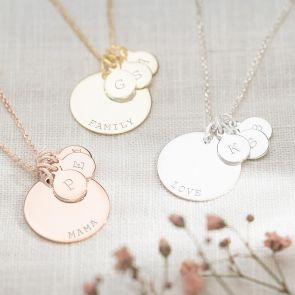 Sterling Silver, Gold and Rose Gold Family Disc Necklace with One Large Name Disc and Three Small initial Discs