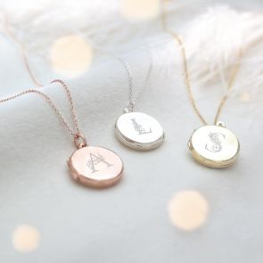 Floral Letter Locket Available in Sterling Silver, Rose Gold Plated Sterling Silver and Gold Plated Sterling Silver