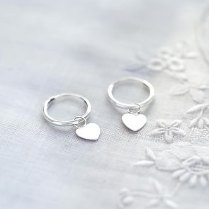 Sterling Silver Sweet Heart Hoop Earrings