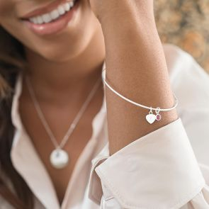 Sterling Silver Heart Charm and Birthstone Personalised Fine Bangle