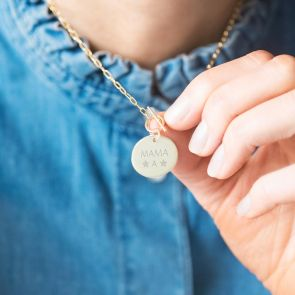 Gold Plated Sterling Silver Link Chain Necklace With Mama Disc Pendant attached to T-Bar Clasp Personalised With Initial