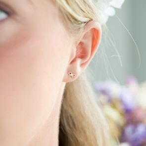 rose gold plated sterling silver bow stud earrings