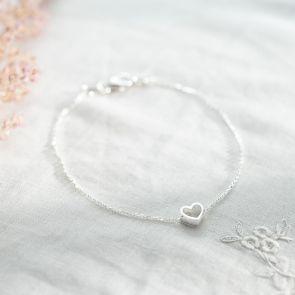 Sterling Silver Dainty heart Charm Bracelet