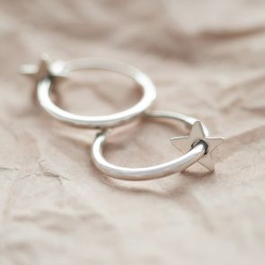 Sterling Silver Starlight Hoop Earrings