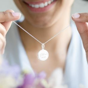 sterling silver locket personalised with a chosen name and date
