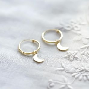 Gold Plated Sterling Silver Moon Hoop Earrings