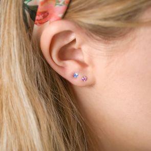 Sterling Silver Personalised Birthstone Earrings