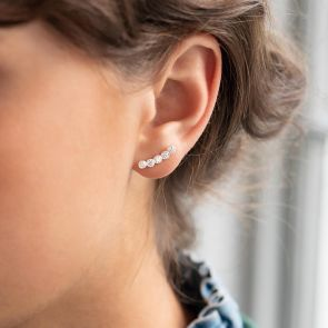 Sterling Silver Round Crystal Climber Earrings