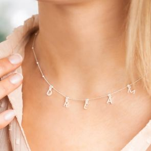 """Sterling Silver Satellite Chain necklace Personalised with Contemporary Letter Charms to spell """"Dream"""""""