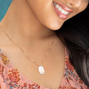 Rose Gold Oval Sia Charm Illustration Personalise Necklace