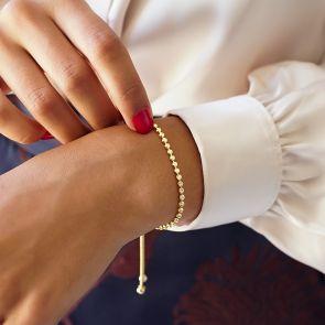 Sterling Silver Starburst Slider Personalised Bracelet Gold