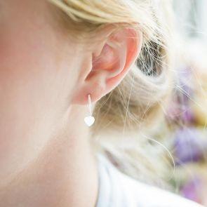 Sterling Silver Sweet Heart Hoop Earrings