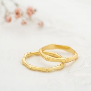 Gold Plated Sterling Silver Stacking Bamboo Rings