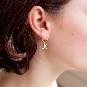 Script Letter Charm Sterling Silver Earrings