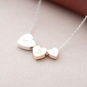 Handwritten Triple Heart Initial Personalised Necklace
