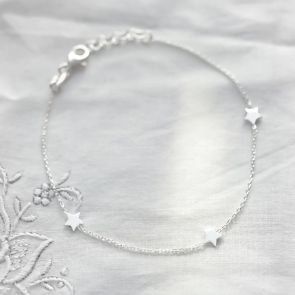 Personalised Sterling Silver Triple Star Bracelet