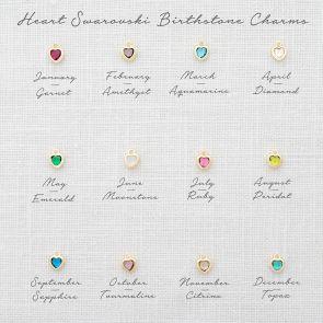 Add a 3mm Heart Swarovski Crystal Birthstone Charm