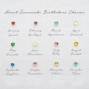 Add a 6 mm Heart Swarovski Crystal Birthstone Charm