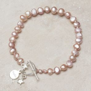 Alya Sterling Silver And Pearl Personalised Friendship Bracelet