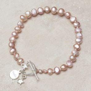 Alya Sterling Silver And Pearl Personalised Bracelet