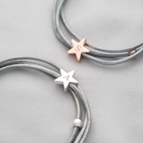 Arlena Multi Wrap Leather Star Personalised Bracelet