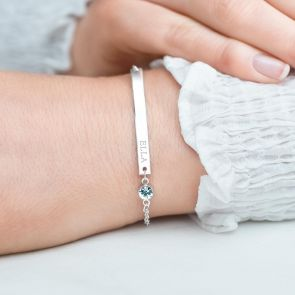 Colette Bar And Birthstone Personalised Bridesmaid Bracelet