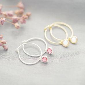 Birthstone Charm Personalised Hoop Earrings