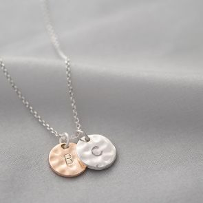 Casey Hammered Initial Disc Personalised Necklace