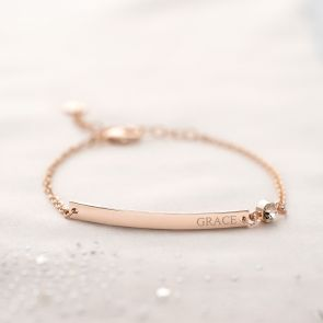 Colette Bar and Birthstone Personalised Bracelet