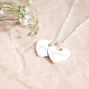 Personalised Double Heart Name Necklace