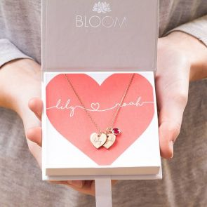 Couple's Double Heart Personalised Name Necklace