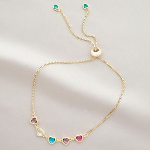 Create Your Own Family Heart Birthstone Personalised Bracelet