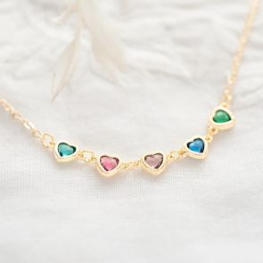 Create Your Own Family Heart Birthstone Personalised Necklace