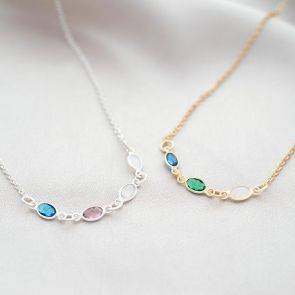 Create Your Own Family Oval Birthstone Personalised Necklace