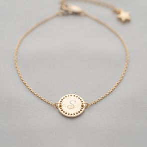 Delicate Initial Disc Personalised Bridesmaid Bracelet