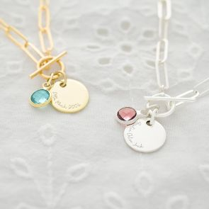 Disc and Birthstone Statement Personalised Necklace