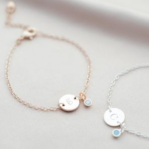 Disc And Micro Birthstone Personalised Bracelet