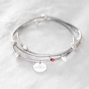 Disc, Heart and Birthstone Esme Personalised Bracelet