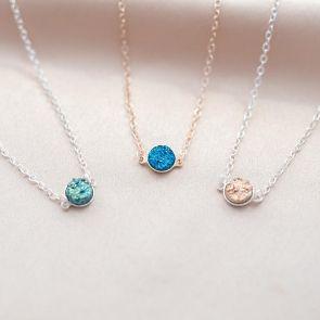 Druzy Pendant Personalised Necklace