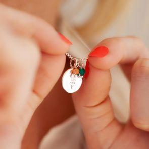Embossed Birthflower Disc Personalised Necklace