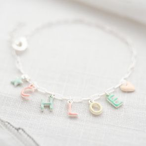 Enamel Letter Charm Personalised Bracelet